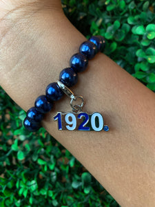 Zeta Phi Beta Blue Pearl Bracelet with 1920 Charm