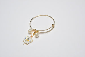 Gold Wire Bracelet with SGR Shield Charm