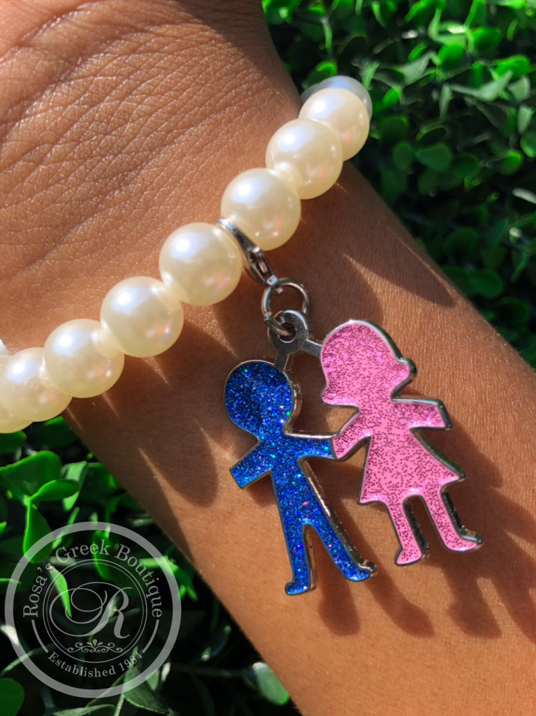 Jack and Jill of America, Inc. Pearl Bracelet with Boy&Girl Charm