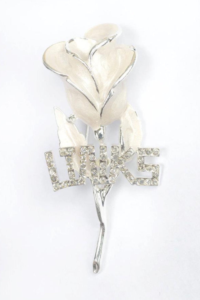 Links, Inc. Uninterrupted White Rose Lapel Pin