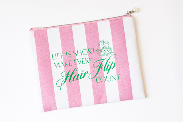 AKA Striped Cosmetic Bag with Pearl Zipper