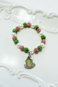 AKA Bling Pearl Bracelet with Shield Charm