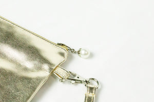 AKA Golden Soror Wristlet with Pearl Zipper