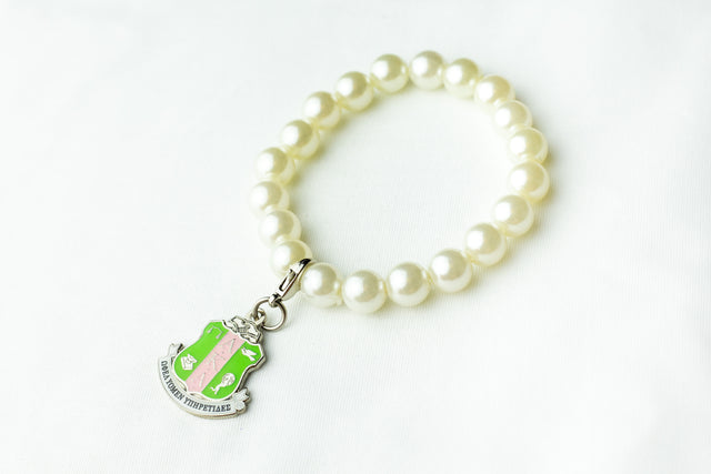 AKA Pearl Bracelet with Shield Charm