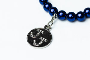 Jack and Jill Blue Pearl Bracelet with Bling Charm