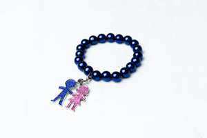 Jack and Jill Blue Pearl Bracelet with Boy & Girl Charm Bracelet