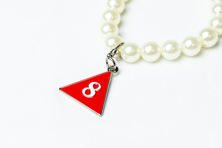 Pearl Bracelet with Delta Number Charm