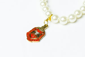 DST Pearl  Bracelet with  Gold Shield Charm