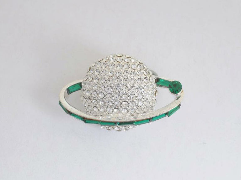 Small Silver Globe with Green Baugette Stones Lapel Pin