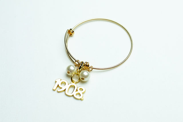 AKA Gold Wire Bracelet with Gold 1908 Charm