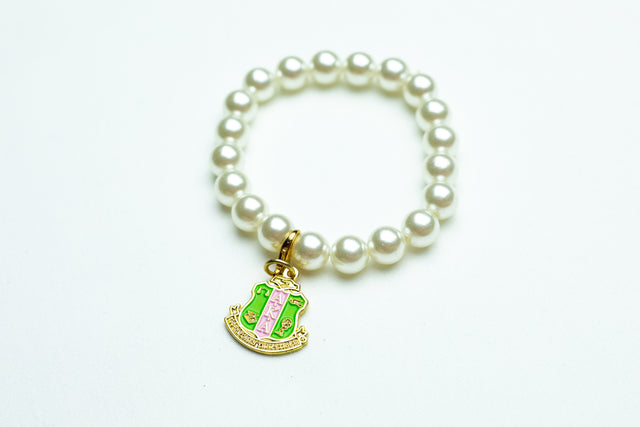 AKA Pearl Bracelet with Gold Shield Charm