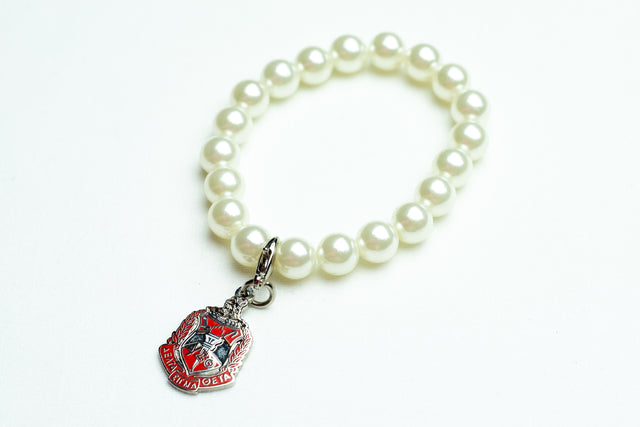 Delta Sigma Theta Pearl Bracelet with  Silver Shield