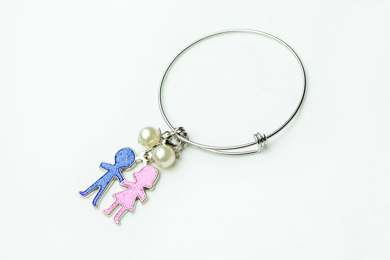 Jack and Jill Silver Wire Bracelet with Boy and Girl Charm