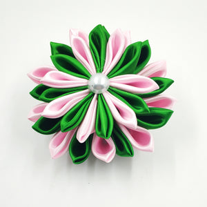 Pink and Green  Ribbon Flower Pin