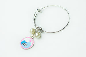 Jack and Jill Silver Wire Bracelet with Logo Charm