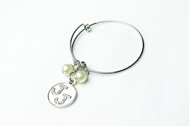 Jack and Jill Silver Wire Bracelet with Bling Charm