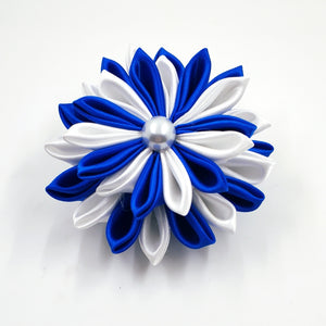 Blue and White  Ribbon Flower Pin