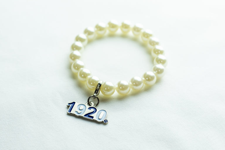 Zeta Phi Beta Pearl Bracelet with 1920 Charm