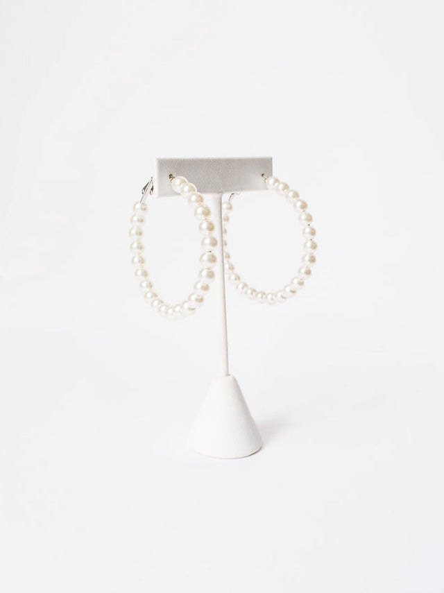 Large Size Pearl Hoops