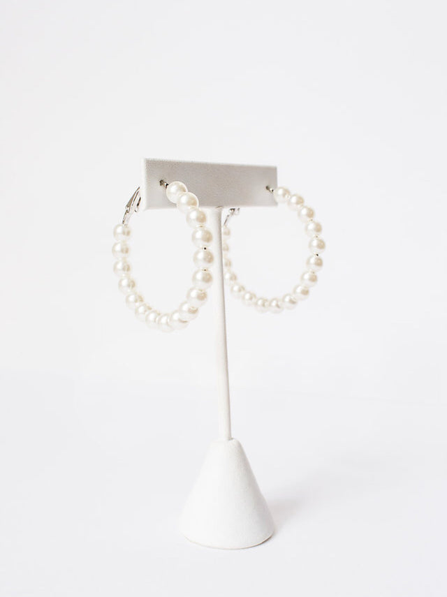 Medium Size Pearl Hoops