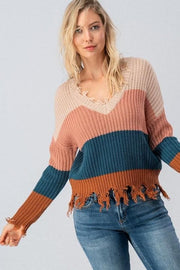 Frayed Hem Crochet Knit Color Block Sweater