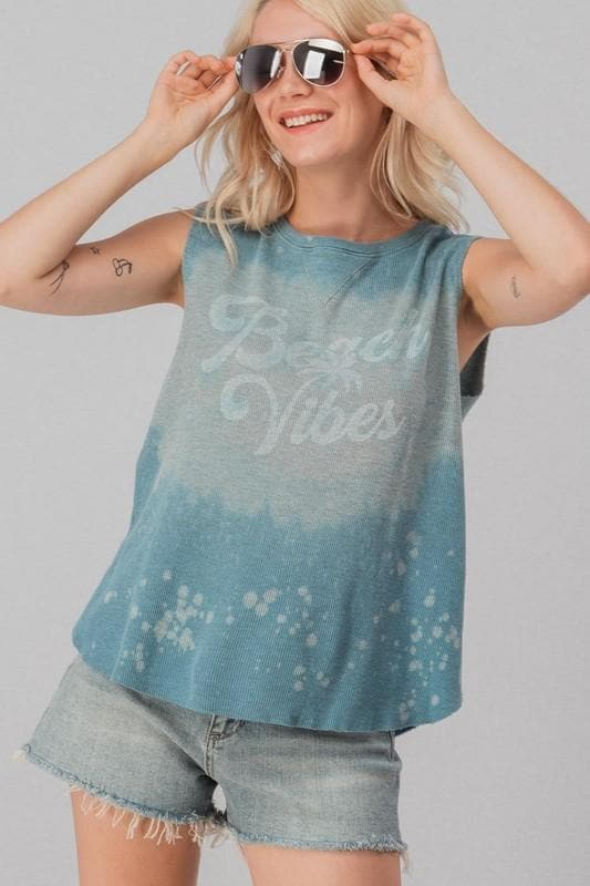 Acid Splatter Beach Vibes Waffle Knit Sleeveless Tank Top