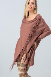 Long Sleeve Cardigan with Fringe Detail