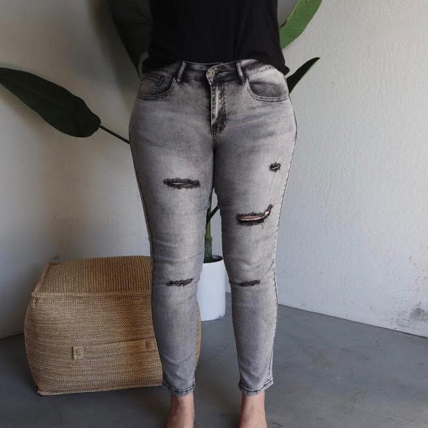 Grey Wash Ankle Skinny Jeans