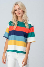 Multi Wide Stripe Short Sleeve Tee