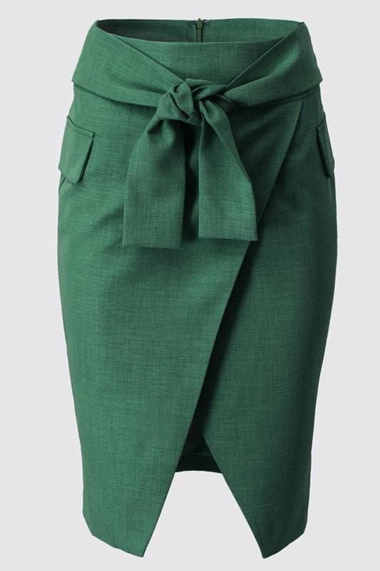 Grass is Greener Pencil Skirt with Tie