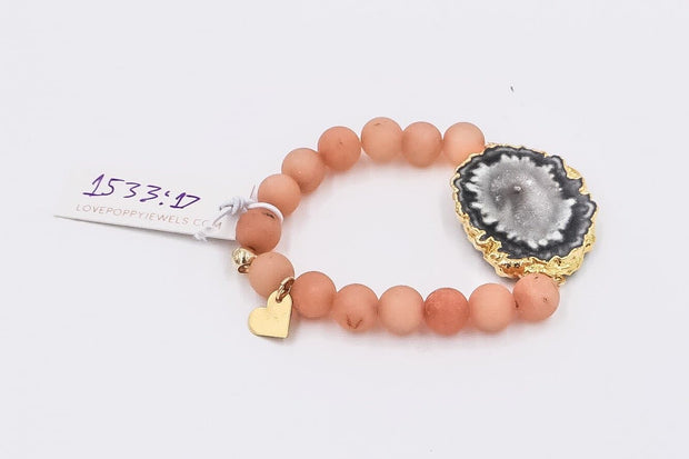 Love Poppy Druzy Beaded Stretch Bracelet