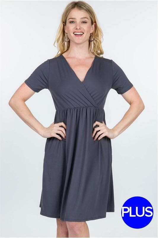 Plus Size Short Sleeve Empire Waist Summer Dress