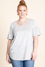 Plus Size Cage Neck Ruffle Top