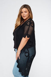 Scallop Crochet Cardigan - Plus Size