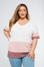 Waffled Color Block Top - Plus Size