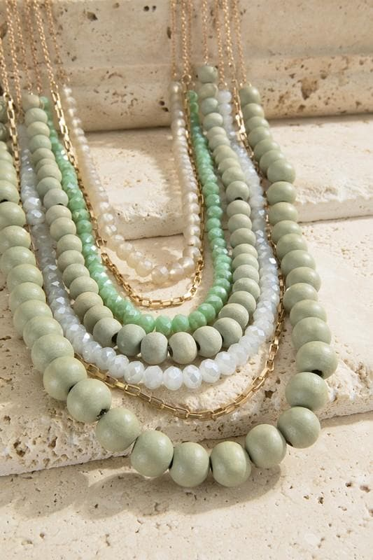 Multi Strand Wood and Glass Bead Necklace