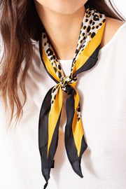 Silky Leopard Diamond Shaped Fashion Scarf