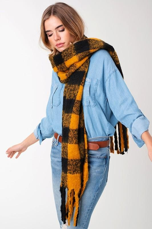 Buffalo Check Tassel Puffy Scarf