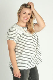 Plus Size Short Sleeves Stripe Top