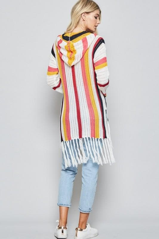 Stripes Crochet Sweater Featuring Hoodie and Tassel Detailing