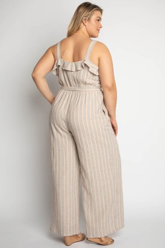 Plus Size Button Down Waist Belt Jumpsuit