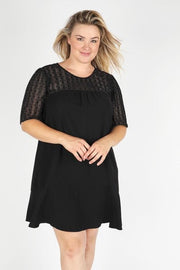 Plus Size Dot Jacquard Floral Print Dress
