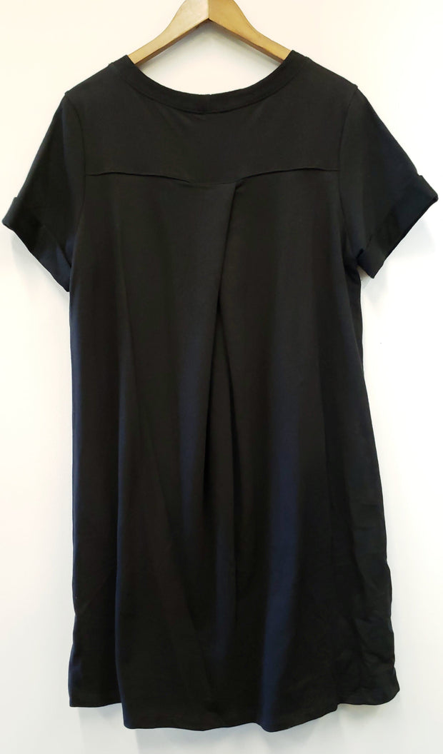Solid Black Plus Size Knitted Dress w/Rolled Up Sleeve Detail