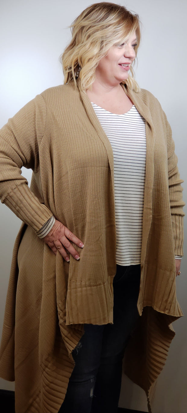 Plus Size Open Front Long Cardigan with Ribbed Trim