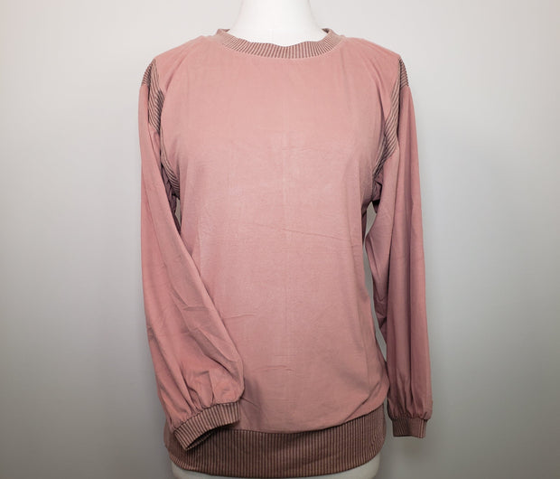 Mix and Match Exaggerated Sleeve Fleece Top
