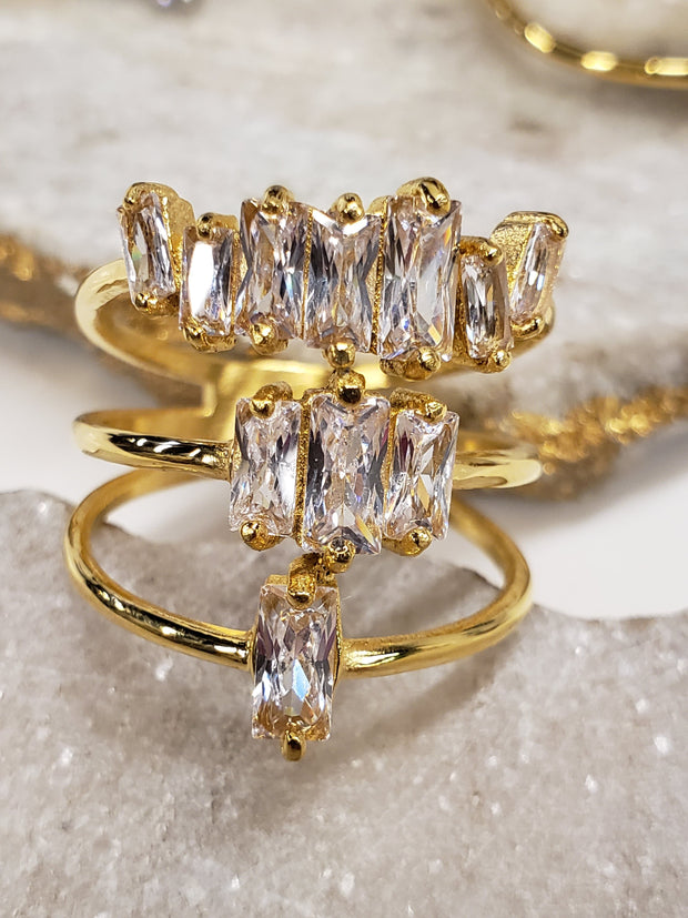 Triple Stacking Ring in Baguette Cut - CZ 18K