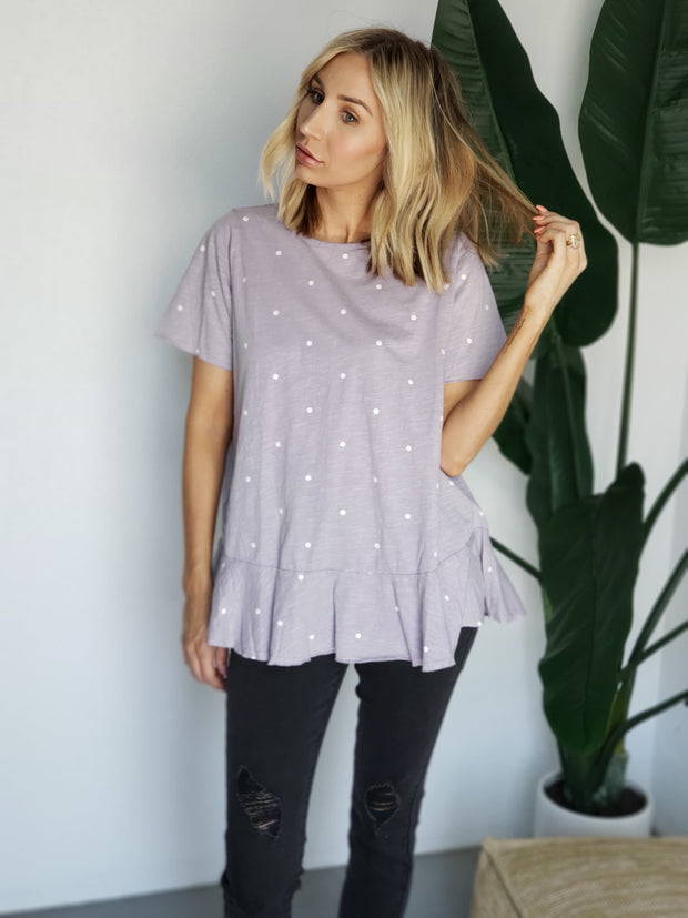 Easel - Short Sleeve Polka Dot Print Top