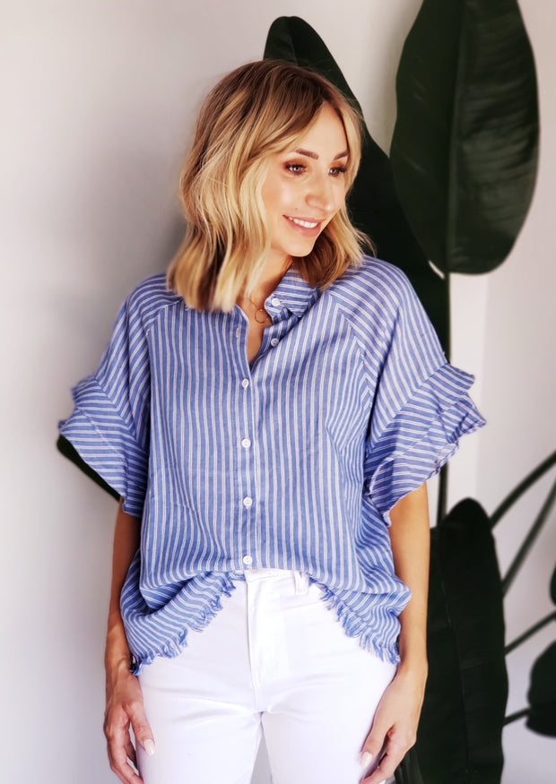 Blue and White Striped Button Up Ruffle Blouse