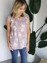 Floral Print Mock-Neck Top Featuring Gathered Neckline Detail