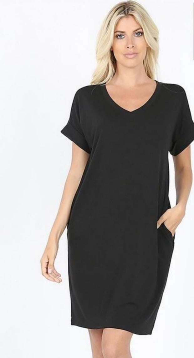 DOORBUSTER Plus Size Short Sleeve V-Neck Dress